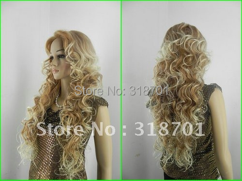 (Free Shipping) New Fashion Long blonde Curly Wavy Women's Lady's Cosplay Hair Full Wig/wigs new electric magnetic induction cooker household special waterproof oven mini small hot pot stove kitchen cooktop 220v ca2007g