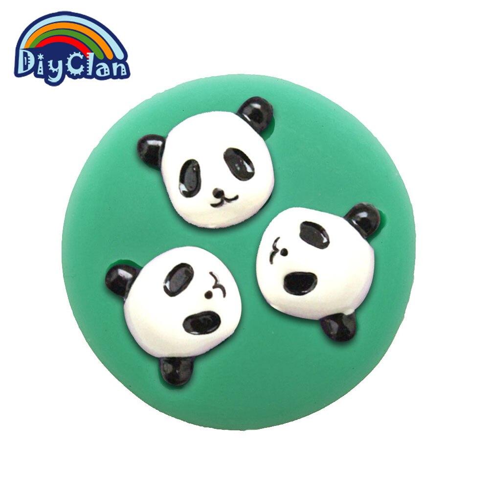 Lindo panda animales molde de pastel de chocolate fondant arcilla resina de sili