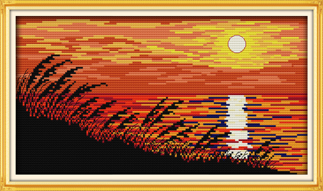 Sunset cross stitch kit