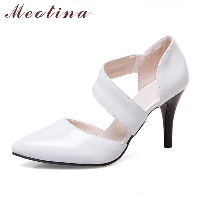 Meotina Women Shoes Pumps High Heels Pointed Toe Thin Sexy Party Wedding White