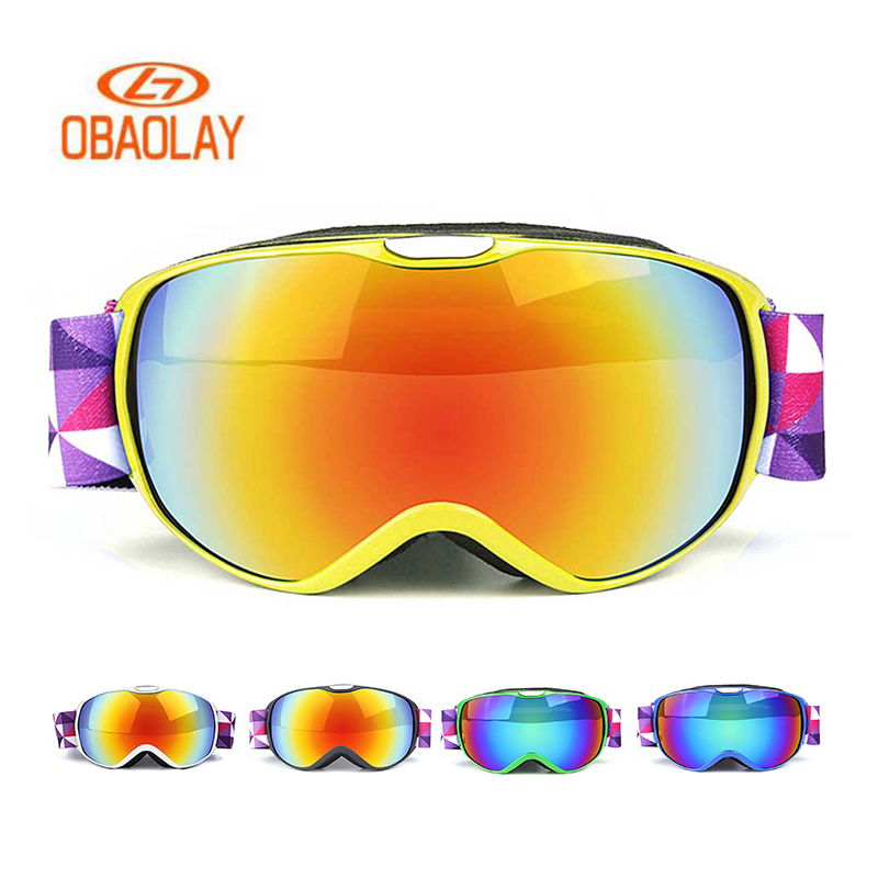 OBAOLAY Children Ski Goggles Boys Girls Anti-fog UV400 Windproof Snowboard Protective Eyewear Kids Skiing Goggles