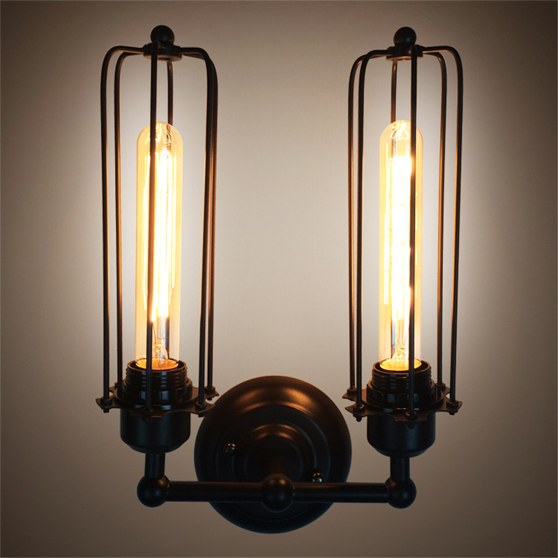 Vintage Lamps Wrought Iron Restaurant Aisle Sconce American Country Industrial Wind Bed Headlight Cafe Edison Double Wall Lights american loft vintage wall lights with iron lampshade industrial wall lamp for store aisle restaurant bar cafe edison lamps