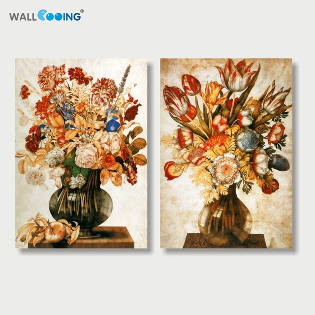 2 Panels Canvas Painting Modular Pictures Vintage Flower Painting Setting  Spray Image Modern Home Decor Kitchen