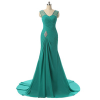 새로운 컬렉션 청록색 댄스 파티 드레스 주름 셔링 등이없는 우아한 쉬폰 쉬어 누드 얇은 명주 그물 긴