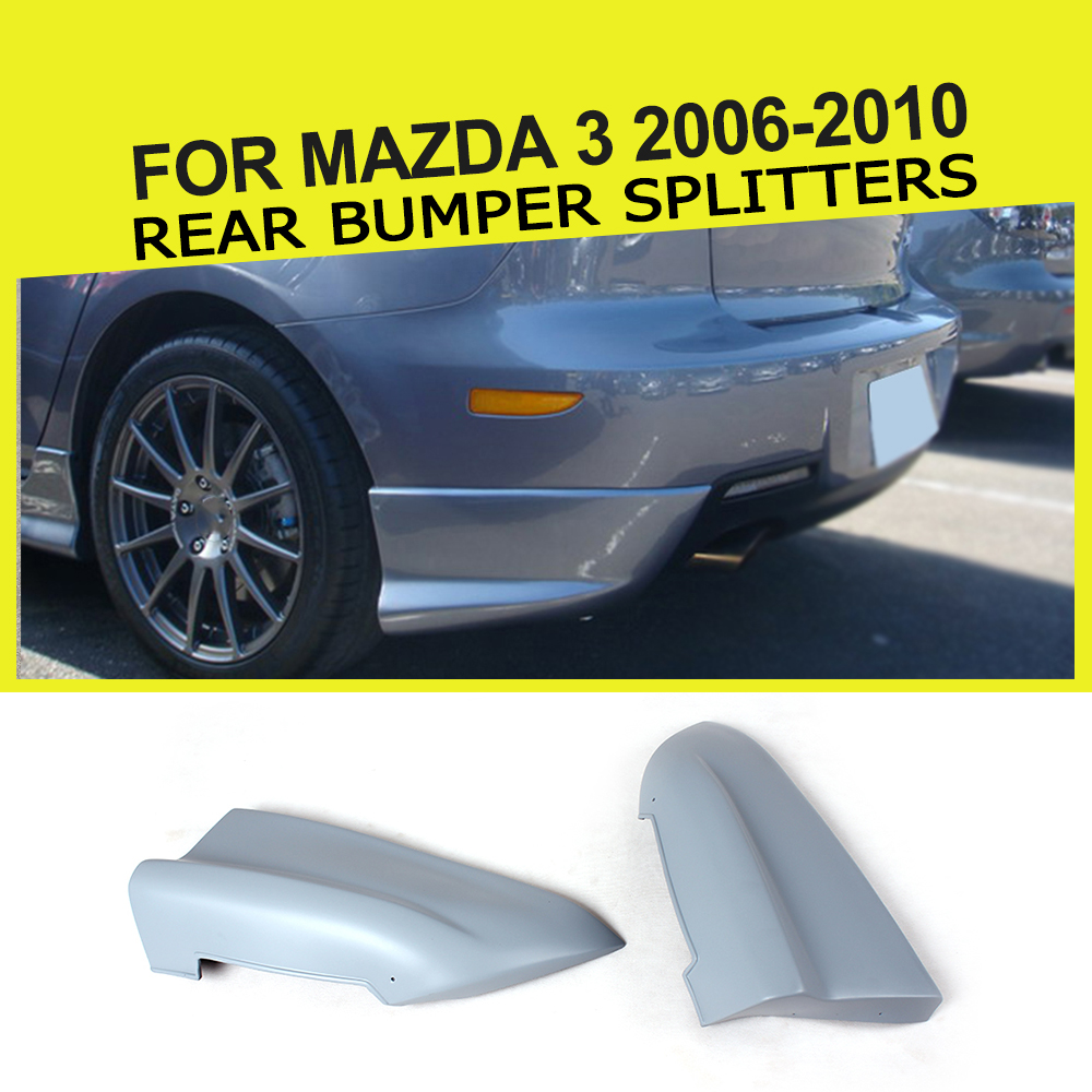 Car Rear Bumper Splitters Lip Aprons Cupwings Flaps Flags Fit For Mazda 3 06-10 PU Unpainted Grey Car Sticker