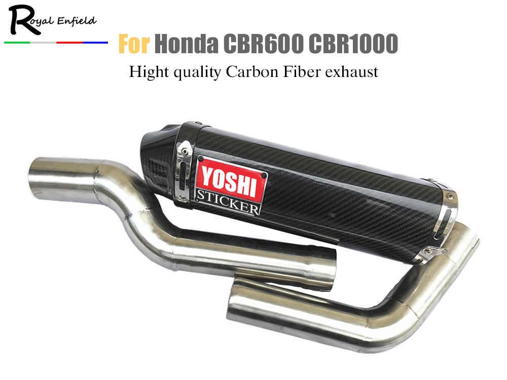 Cbr600 Cbr1000 Motorcycle Exhaust Link Pipe For Honda Cbr600rr F5 03 04 05 15 Cbr1000 04 07 With Carbon Fiber Yoshimura Sticker