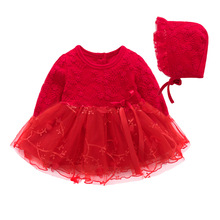 Boutique Lace Flowers Baby Girl Dress Long Sleeve Wedding Birthday 1 Year Christmas Dresses Princess Baby Girl Clothes + Hat