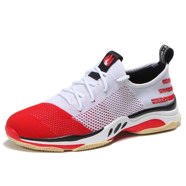 Для мужчин; спортивная обувь осенне-зимняя красная носком новый модный стиль Обувь с дышащей сеткой кроссовки легкий удобный пары спортивной обуви