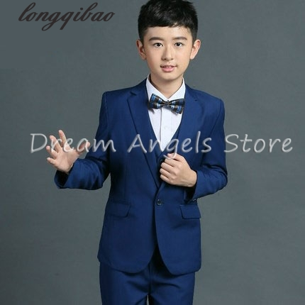 Jackets+Vest+Pants+Bow Tie+Shirt) Boy Suits Flower girl Slim Fit Tuxedo Brand Fashion Bridegroon Dress Wedding Blue Suits Blazer цены онлайн