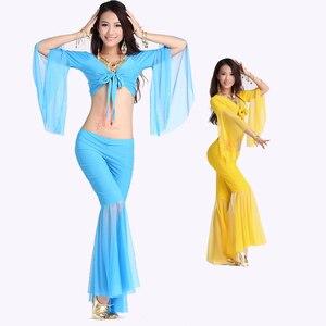 Image 4 - Offre spéciale!! Ensemble de haut parleur en maille pour femmes, 2 pièces et pantalon à cinq points, costume de danse du ventre, 12 couleurs M et L