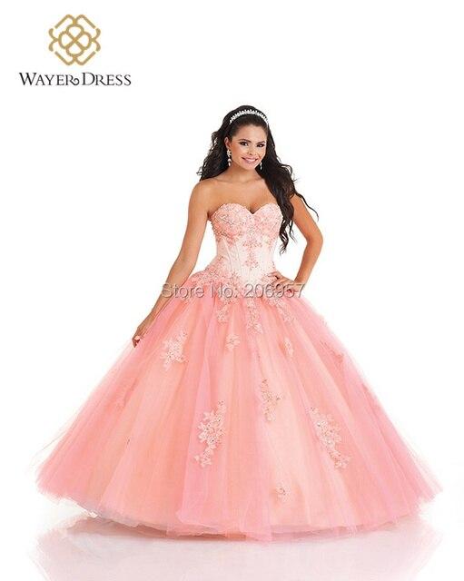 2cbf35bd6 Romántico rosa Vestidos Vestidos del Quinceanera bola con la chaqueta Vestidos  De 15 años brillante con