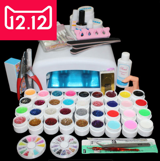 EM-111 professional uv gel nail tools ,manicure nail set , 36colors uv gel with 36W uv lamp ,uv gel kit nail uv