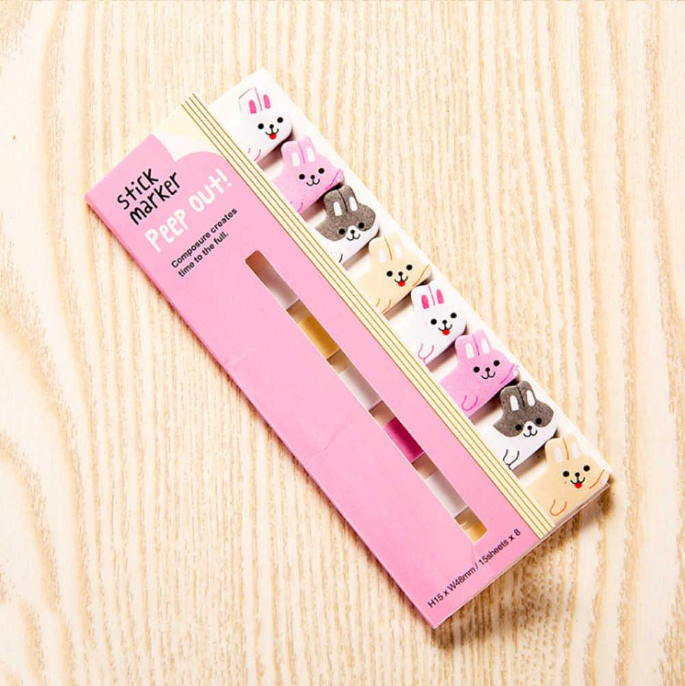8 unids/lote animales dibujos animados Kawaii Cat Panda Bloc de notas recordatorias adhesivas cuaderno papelería nota material escolar adhesivos