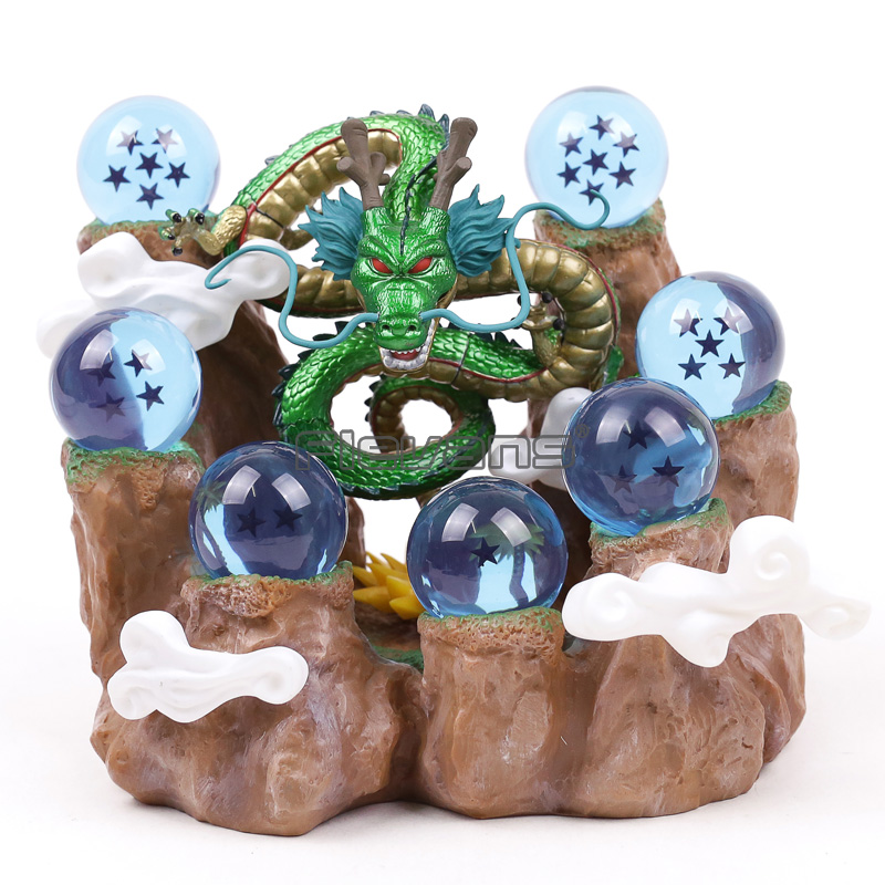 Dragon Ball Shenron Figure with 7 Stars Crystal Balls + Mountain Stand DBZ Collectible Figure Set Model Toy (NO BOX) 1set 3 5cm dragon ball z new in box 7 stars crystal balls set of 7 pcs complete set retail