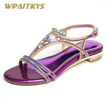 2018 New Crystal Low-heeled Shoes Woman Wedding Banquet Purple Golden Elegant Rhinestone Buckle Strap Fashion Women's Shoes convertible strap low heeled mules