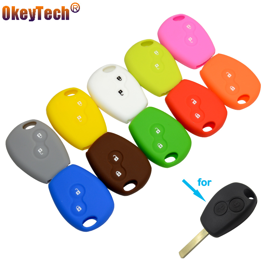 OkeyTech Silicone Car Key Cover Case 3 Buttons for Renault Clio Scenic Megane Duster