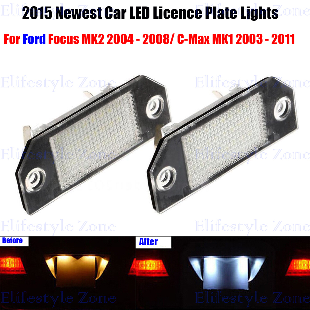 2 x LED Number License Plate Lamps OBC Error Free 18 LED For Ford Focus MK2 C-Max MK1 led waterproof number white license plate light lamps obc error free 18 led for bmw x3 e83 x5 e53