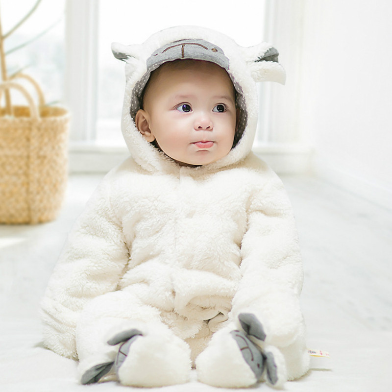 2018 Cute Cartoon Sheep Baby Girls Clothes Animal Baby Rompers Costume Winter Clothes for Boys Warm Snowsuit Jumpsuit baby boys clothes animal costume winter clothes flannel cotton cartoon jumpsuit baby girl rompers clothing infant bebes pajamas