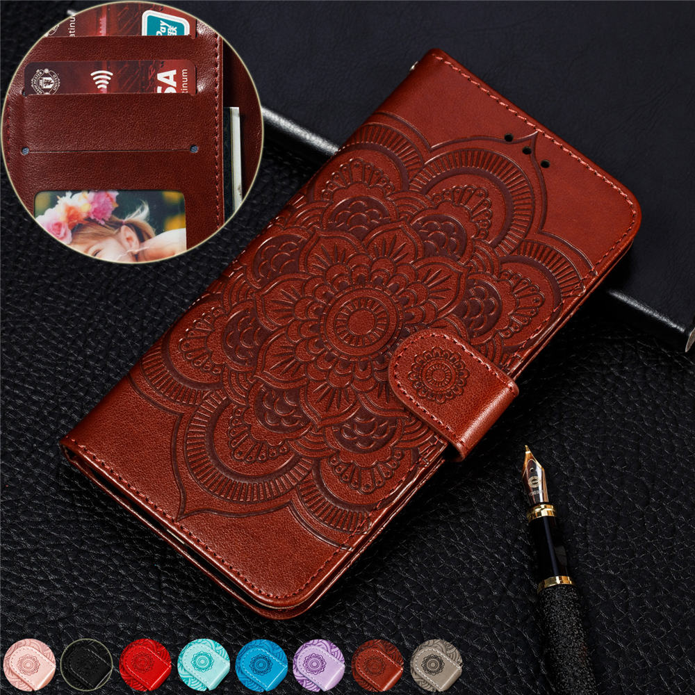 For Nokia 9 PureView Magnetic book case nokia 9.1 capa nokia 9 pureview Embossed sunflower Leather Wallet Flip Stand Cover Case
