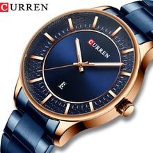 CURREN mężczyźni zegarek ze stali nierdzewnej eleganckie biznes zegarki mężczyzna Auto data zegar 2019 moda zegarek kwarcowy Relogio masculino