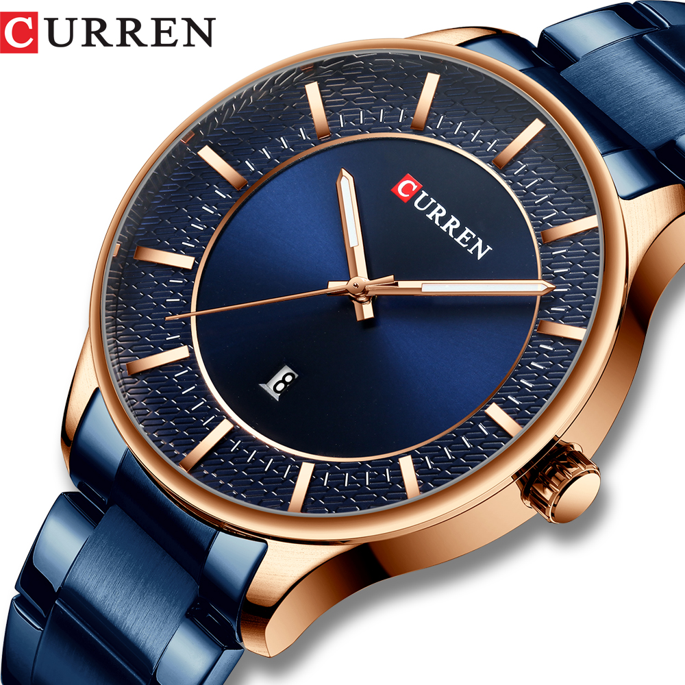 Homens CURREN Relógio de Aço Inoxidável Negócio Elegante Relógios Masculino Auto Data Relógio 2019 Moda Quartz Relógio de Pulso relogio masculino