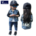 2016 winter hot boys and Girls Denim Jacket cartoon letters printed vest hole fashion leisure wear