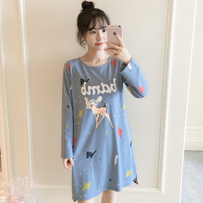 2019 Spring Autumn Cotton Nightgowns for Women Long Sleeve Night Dress Girls Cute Cartoon Home Dress Sleepwear Nightdress Nighty