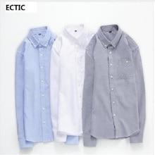 ECTIC Новое поступление 5 цветов 902018 Высокое качество классический деловой мужской рубашки Длинные рукава с отложным воротником большие размеры платье рубашка