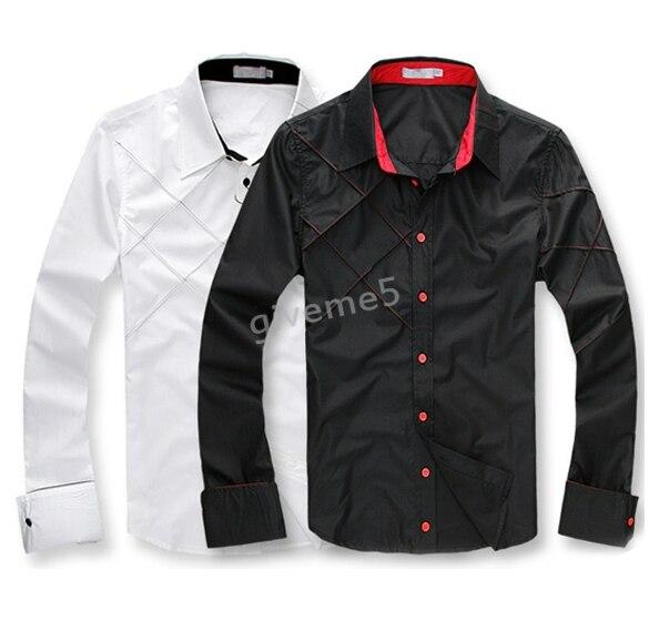 4841dc88a92b Camicia Moda uomo Casual Slim Fit Cotone Moda Maniche Lunghe Camicie ...