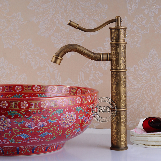 BECOLA Antique Bathroom Faucets Bronze Antique Water Tap Antique Brass  Basin Faucet Single Handle Hy