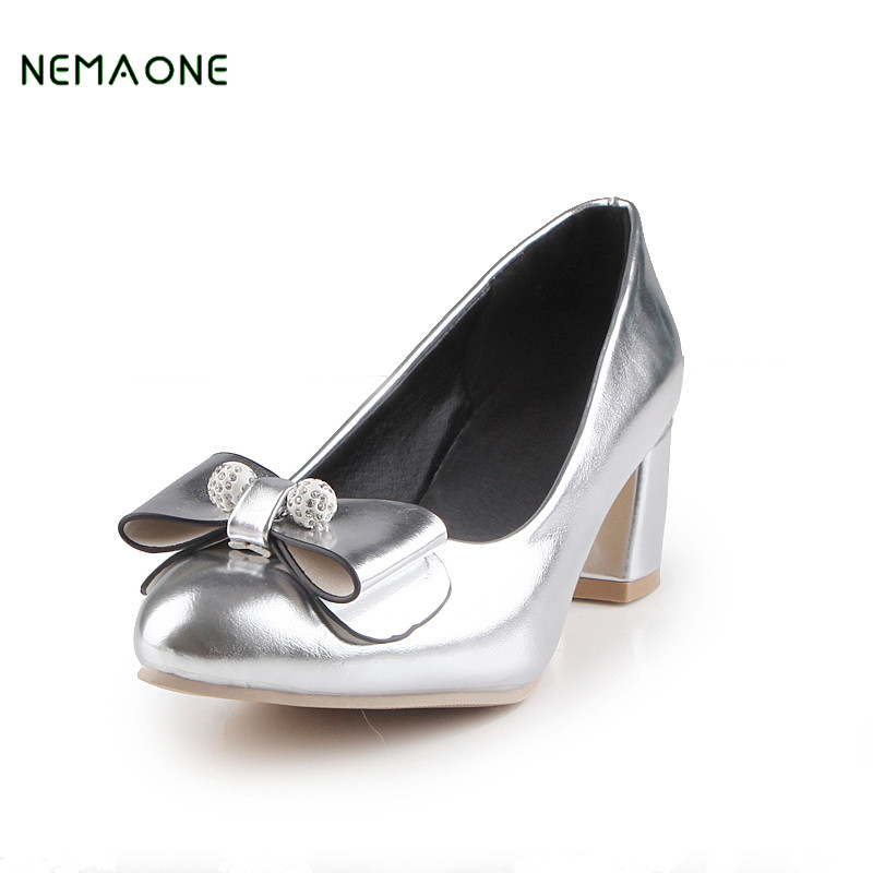 NEMAONE shoes 2017 round toe zapatos mujer slip-on wedding party pumps modern bling hoof high heels sexy casual platform shoes cdts 35 45 46 summer zapatos mujer peep toe sandals 15cm thin high heels flowers crystal platform sexy woman shoes wedding pumps