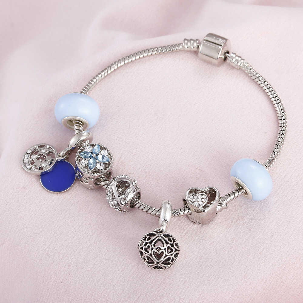Vintage Women Charm Bracelets Key Angel Coconut Tree Pendant Crystal Beads Female DIY Snake Chain Bangles For Jewelry Girl Gifts