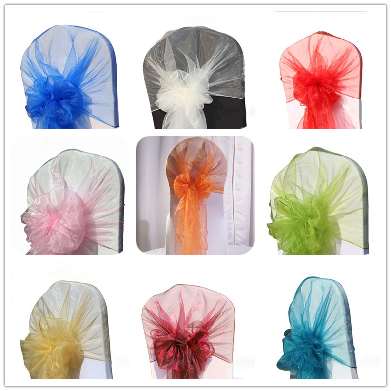 Wholesale 100pcs Sheer Organza Chair Cover Hoods Wedding Chair Caps Tie Back Chair Bow Sashes For
