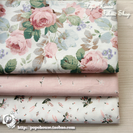 1 pcs 160x50cm / 3pcs 50x50cm Rose Manor Twill Cotton Cloth Dress Skirt Baby Clothes Garment diy bedding apron fabric