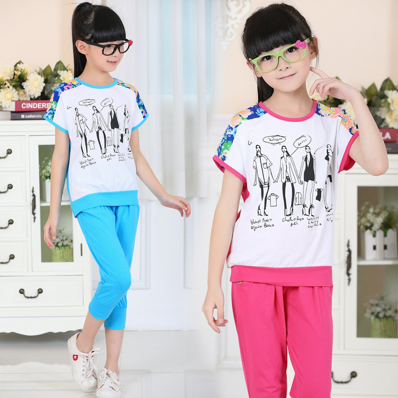 Big girl sport suits summer wear Girls fashion cotton children short sleeves kids sets for girls teenage clothes style 13 years