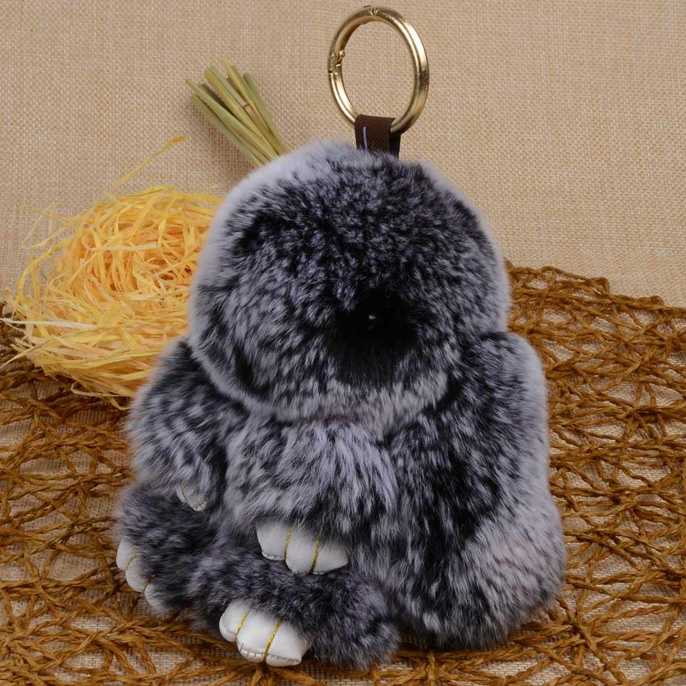 866653dd1 Chanfar Bunny Pendant Keychain Real Rex Rabbit Fur Keychain Fluffy Toy Doll  Bag Car Charm Key Ring Jewelry For Women