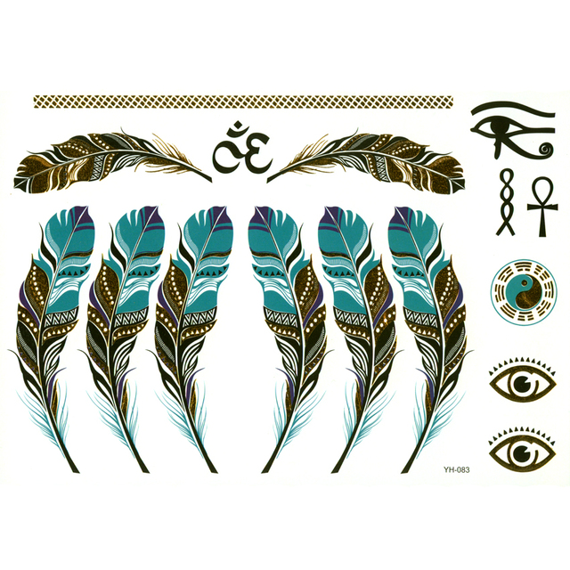 Tattoo Flash Wallpaper By Feathr: 10pcs Gold Feather Temporary Tattoos Men Gold Necklace