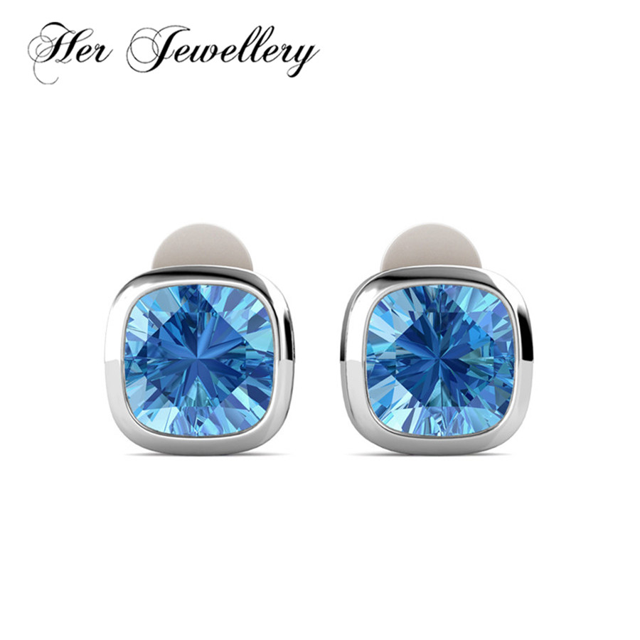 Her Jewellery blue Cushion crystal earrings for women Cilp earring jewelry  Made with crystals from Swarovski HE0092