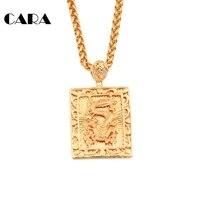 CARA New arrival Big Promocja Biżuteria Chiński carving Smok Wisiorek amulet szczęście Naszyjnik wisiorek biżuteria CAGF0167