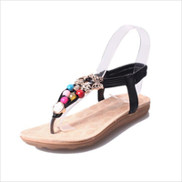 2017 New Fashion Bohemian Style Summer Pure Color Pu Sandals Comfy Women S Flat With Beads