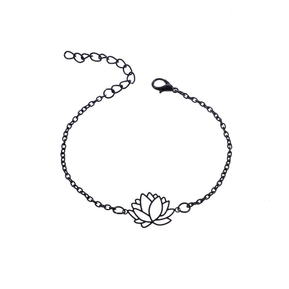 Sindlan 4 шт. готические черные перьевые браслеты Лотос набор сердце Шарм Бохо браслеты для женщин цепочка на запястье браслеты, бижутерия