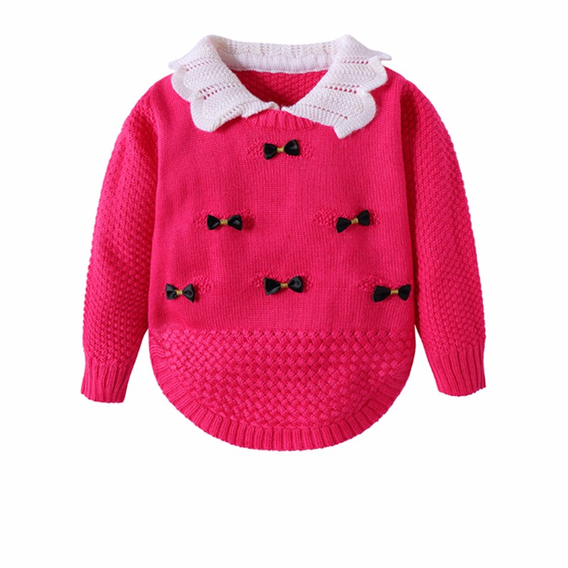 Cotton Girls Sweaters Solid Long Sleeve Clothes Knit Pullover Outerwear With Bows Warm Children Top Autumn Winter Kids Sweater (8)