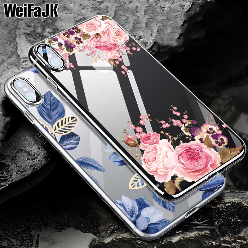 WeiFaJK Phone Case For iPhone 8 7 6 6s Girls Floral Silicone Cases For iPhone XS Max XR 8 7 6 6s Plus Clear TPU Soft Slim Cover