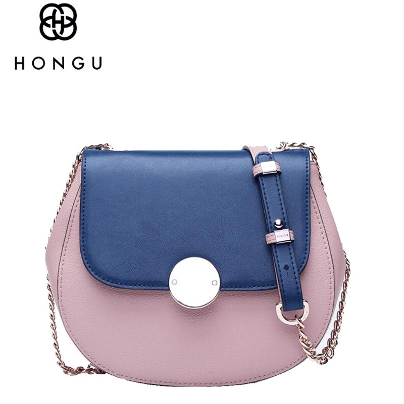 HONGU Genuine Leather Saddle Bag Famous Brands 2017 New Sample Design Lovely Small Chain Messenger Shoulder Bags for Women 2017 fashion all match retro split leather women bag top grade small shoulder bags multilayer mini chain women messenger bags