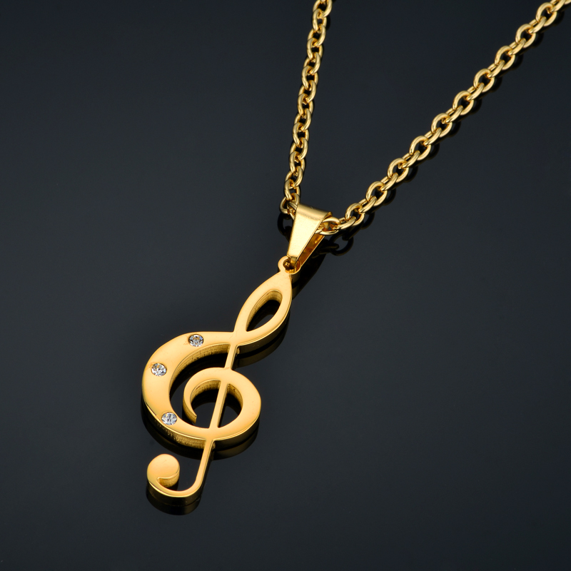 Treble Clef Necklace & Pendant Stainless Steel