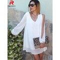Reaqka Свободные Шифоновое мини сарафан женщины 2017 новый белый Длинные рукава Глубокий V-образным Вырезом Летом пляж мода повседневная короткие dress factory