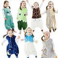Весна осень новорожденный спальный мешок дети утолщаются комбинезоны дети мультфильм животных пижамы Теплый Предотвращение Ногами Одеяло Хлопок