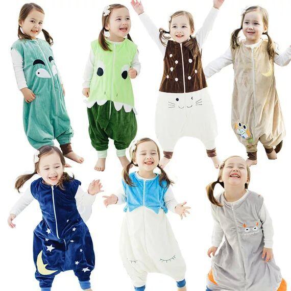 Forår efterår nyfødt sovepose børn tykkere jumpsuits kids tegneserie dyr pyjamas varm forebyggelse sparkning quilt bomuld