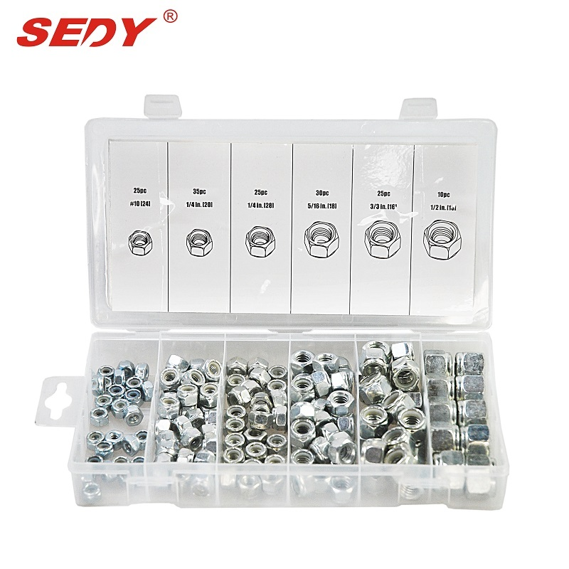 150 PC SAE Nylon Insert Lock Nut Assortment Professional Industry Tool SDY-19017 horusdy stainless steel lock nut sae nylon insert for industry tool 150pcs assortment kit
