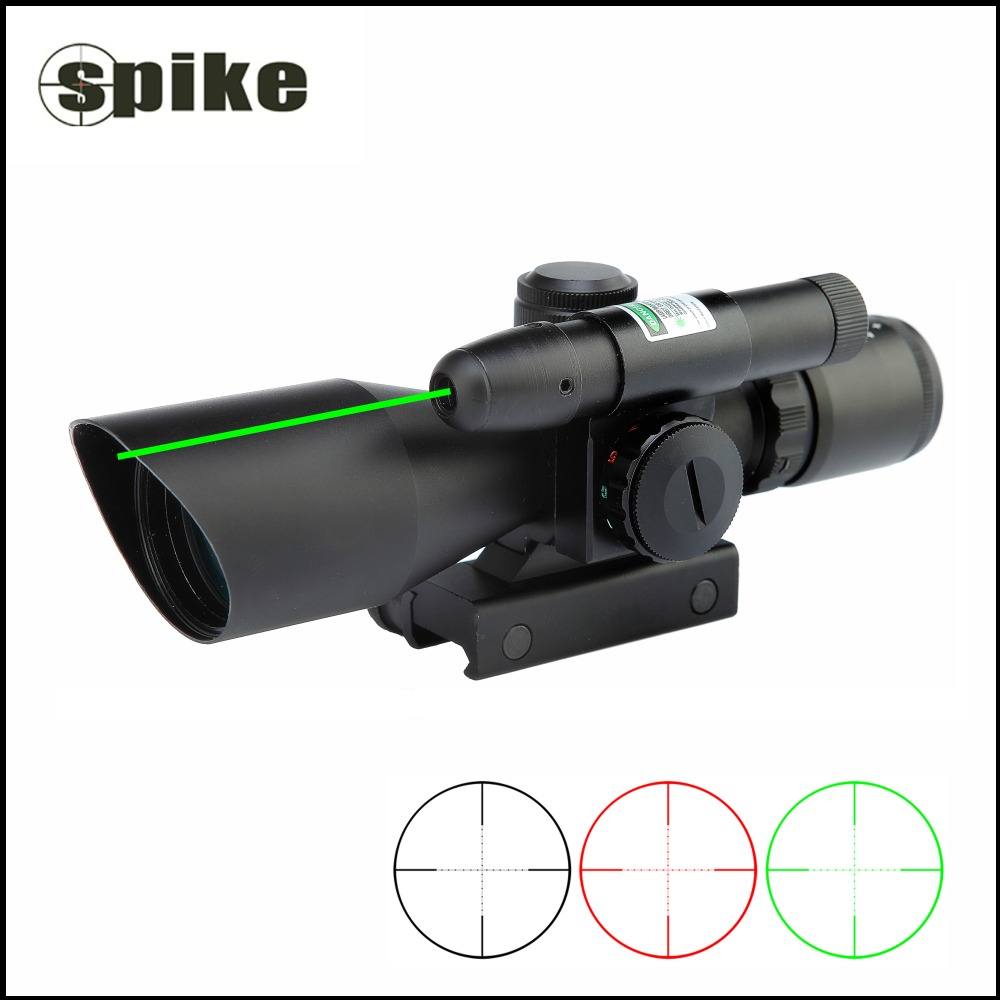 Spike 2.5-10x40 Tactical Illuminated 24 Mil-dot Rifle Scope With Red & Green Laser Pointer Fit For 11mm / 20mm Rail 3 10x42 red laser m9b tactical rifle scope red green mil dot reticle with side mounted red laser guaranteed 100%